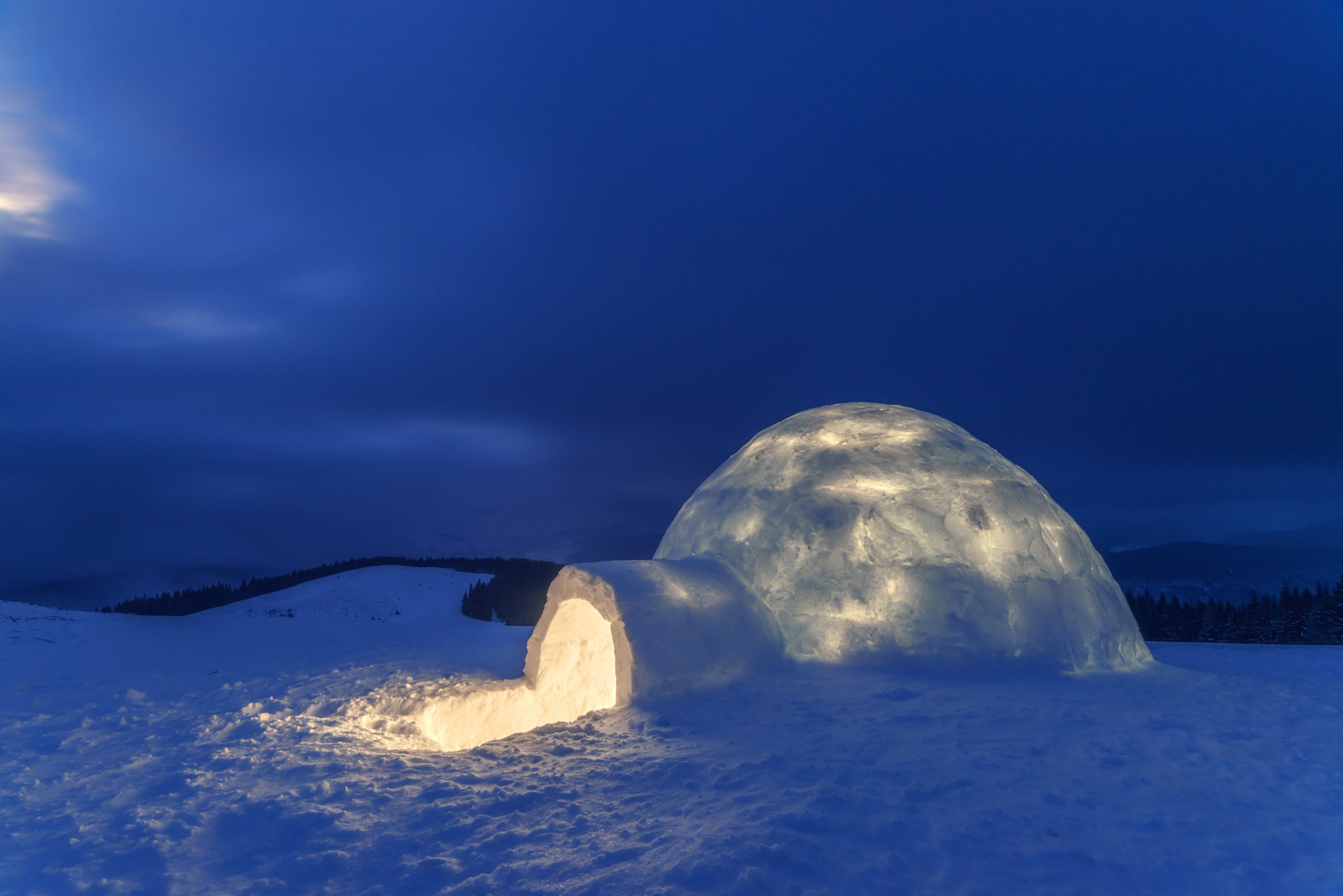 snow igloo in the high mountain